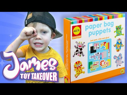 Alex Paper Bag Puppets With James Toy Takeover