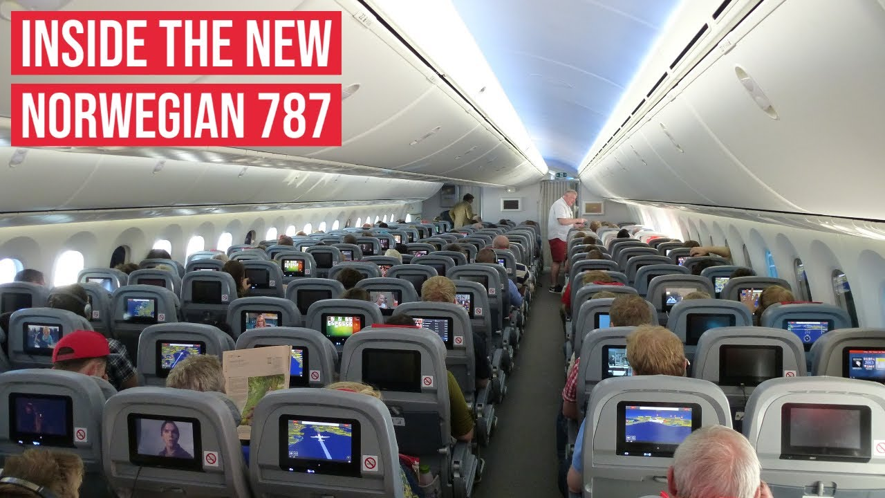 new norwegian boeing 787 dreamliner on board cabin views youtube