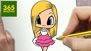 COMO DIBUJAR BARBIE KAWAII PASO A PASO - Dibujos kawaii faciles - How to draw a Barbie