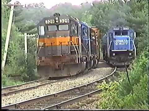 Guilford Rail Conrail power swap at Rollinsford train SENE 1997