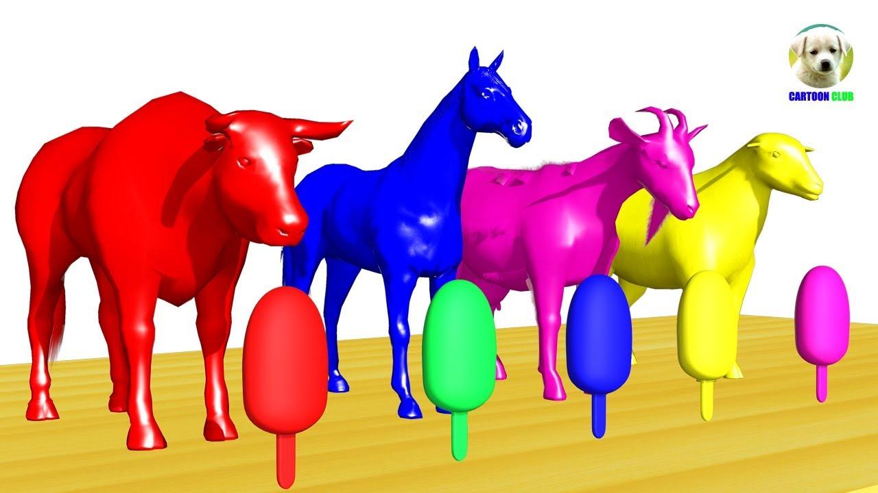 Learn Colors Animals Farm Eat Ice Cream Color Cartoon Nursery Rhymes For Kids Youtube