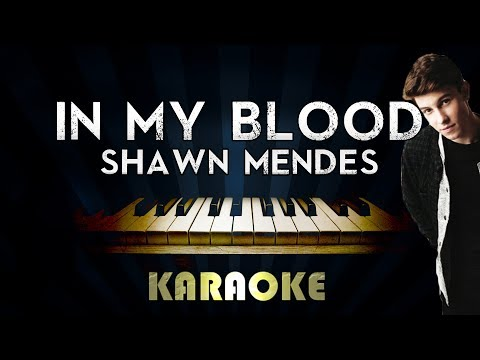 Shawn Mendes - In My Blood | LOWER Key Piano Karaoke Instrumental Lyrics Cover Sing Along