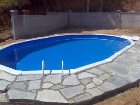 Como enterrar una piscina de plastico youtube for Como construir una piscina de cemento