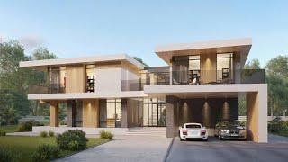 Проект дома в стиле Хай Тек. Дом с сауной, террасой и панорамными окнами. Ремстройсервис RH-450