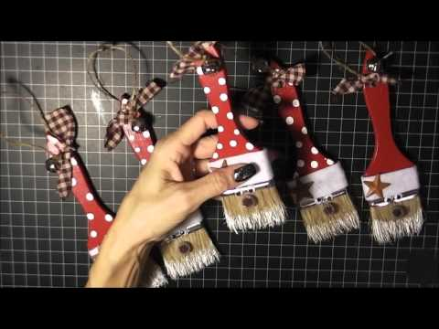 Santa Paint Brush Ornament