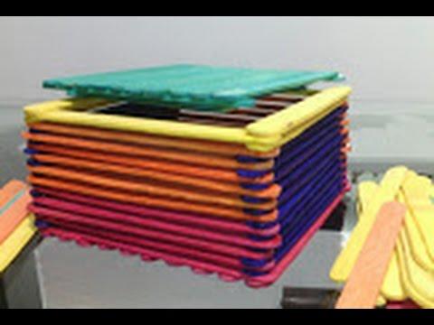 Cajitas con palitos de paleta youtube - Manualidades con palitos ...