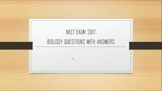 Biology Expected questions with answers for NEET Exam  - Part 1