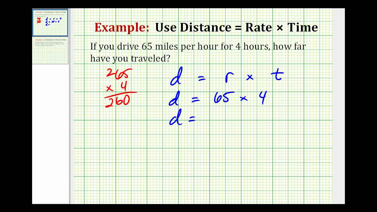 Example Solve A Problem Using Distance Rate X Time