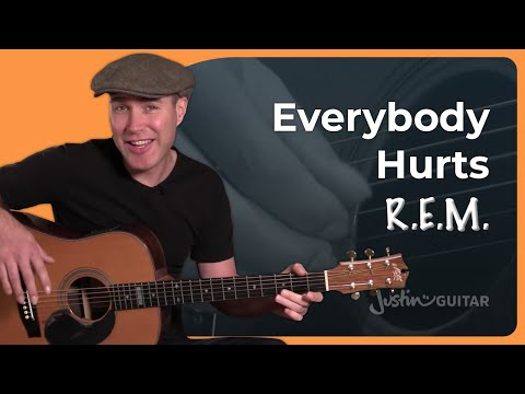 Everybody Hurts - R.E.M. - Beginner Fingerstyle Guitar Lesson Tutorial (BS-920)