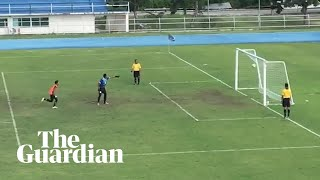 Goalkeeper celebrates prematurely before penalty spins back into goal