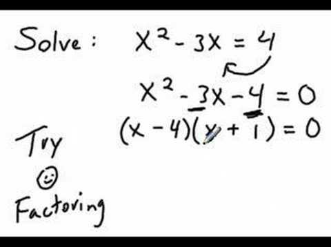 Solve Quadratic Equation By Factoring Youtube