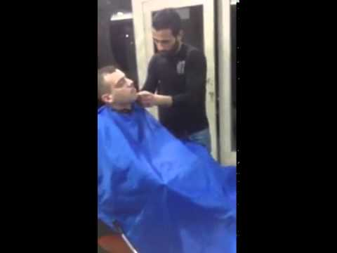 Man Pleasures Himself While Having a Hair Cut