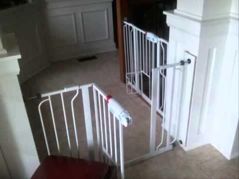 carlson 0930pw extra-wide walk-thru gate with pet door 2