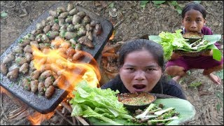 Primitive Technology  - Eating delicious  - Grilled chicken heart on a rock