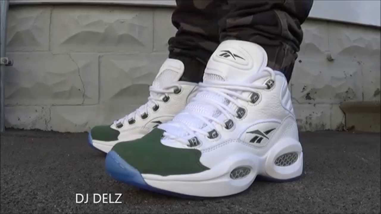 Reebok Classics Question Mid Green Fifteen Sneaker On Feet Review With   DjDelz - YouTube 8895ef98d