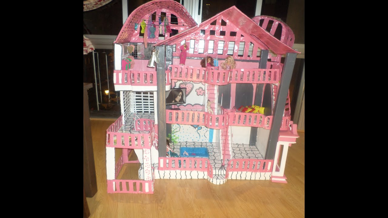 Como fazer casa dos sonhos da Barbie com papelao Ediçao1   #AA2138 3205x3160 Banheiro Da Barbie De Papelão