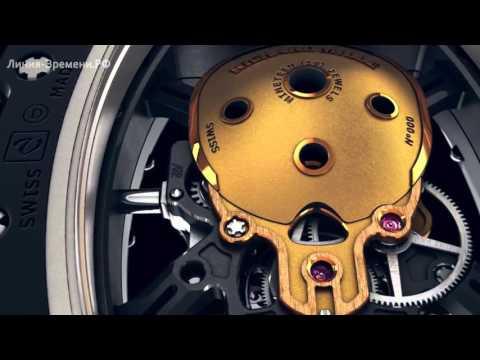 Мужские часы-скелетоны Richard Mille Skull черно-золотые