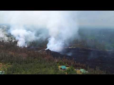 Aerial footage of the Kilauea eruption area on May 9, 2018