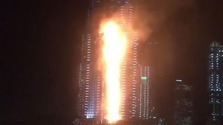 THE ADDRESS HOTEL ON FIRE, DOWNTOWN DUBAI, NEW YEAR'S EVE 2016