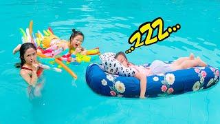Ngủ Giữa Bể Bơi ❤ Trò Chơi Vui Nhộn Tại Bể Bơi - Trang Vlog