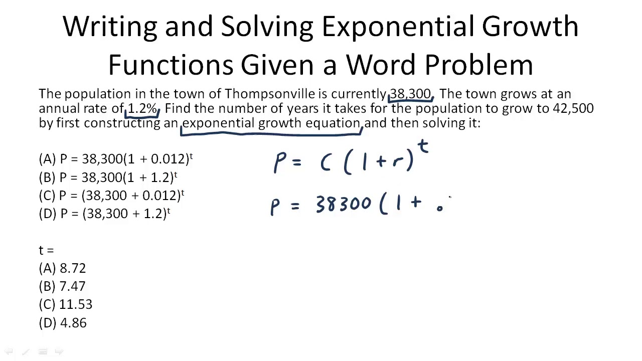 Writing and Solving Exponential Growth Functions