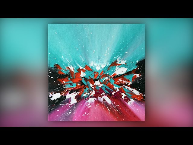 Easy Abstract Painting / Acrylics / Palette Knife Technique / Turquoise / Demo #030
