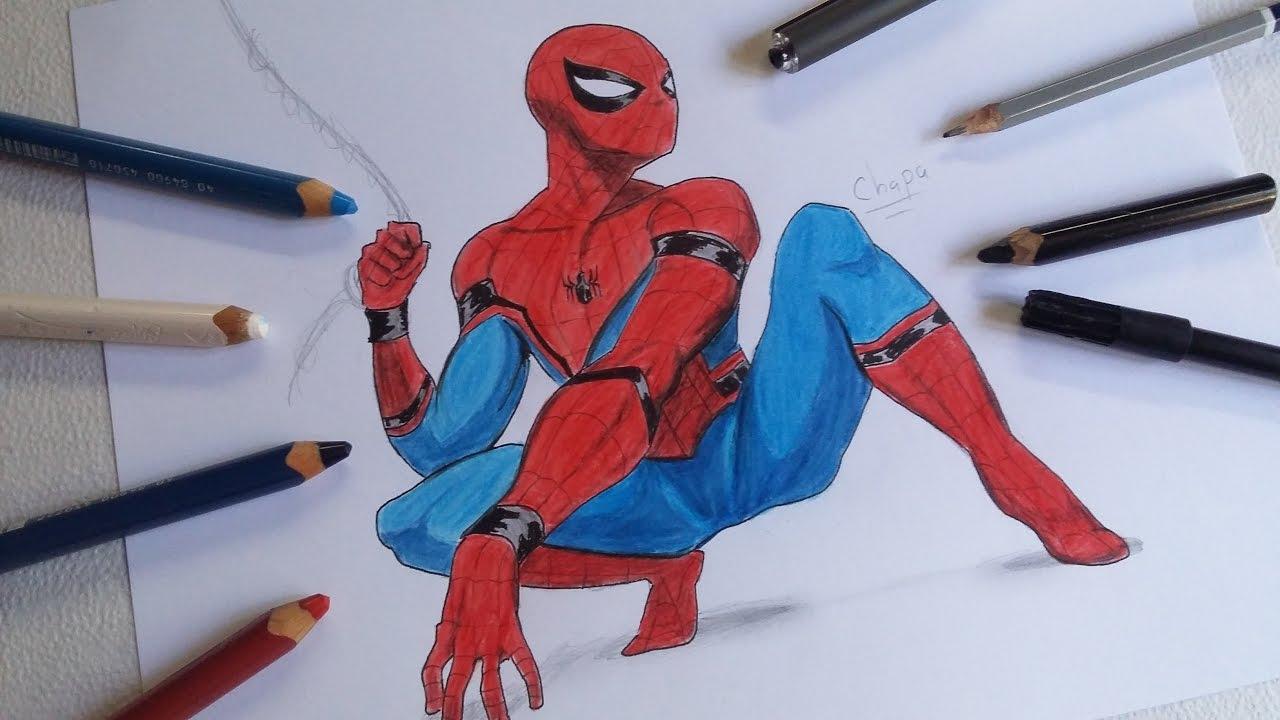 Dibujos De Spiderman Para Pintar: DIBUJO DE SPIDERMAN: HOMECOMING (ChaPa Vs Focking Black