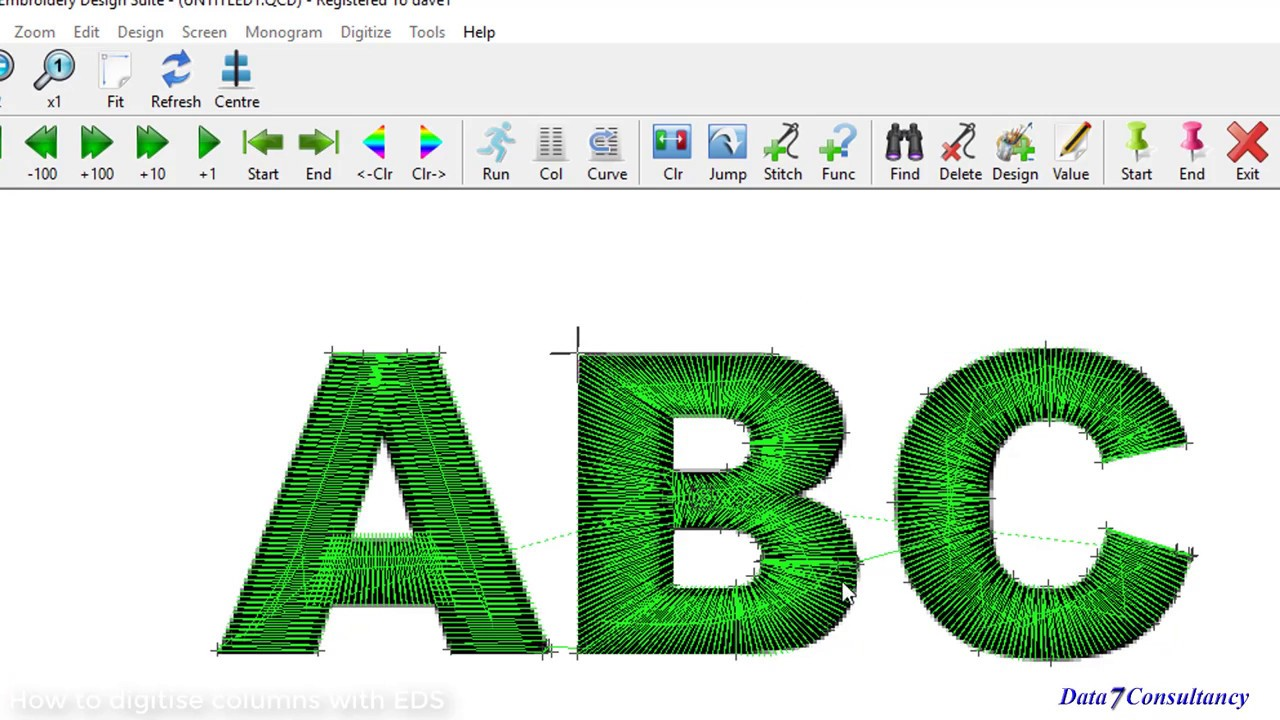 How To Create Embroidery Designs And Digitise Columns Using The Data