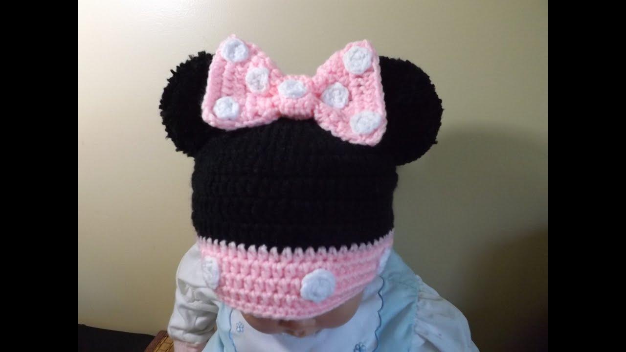Crochet Gorrito Minnie Mouse de 3 a 6 meses - YouTube