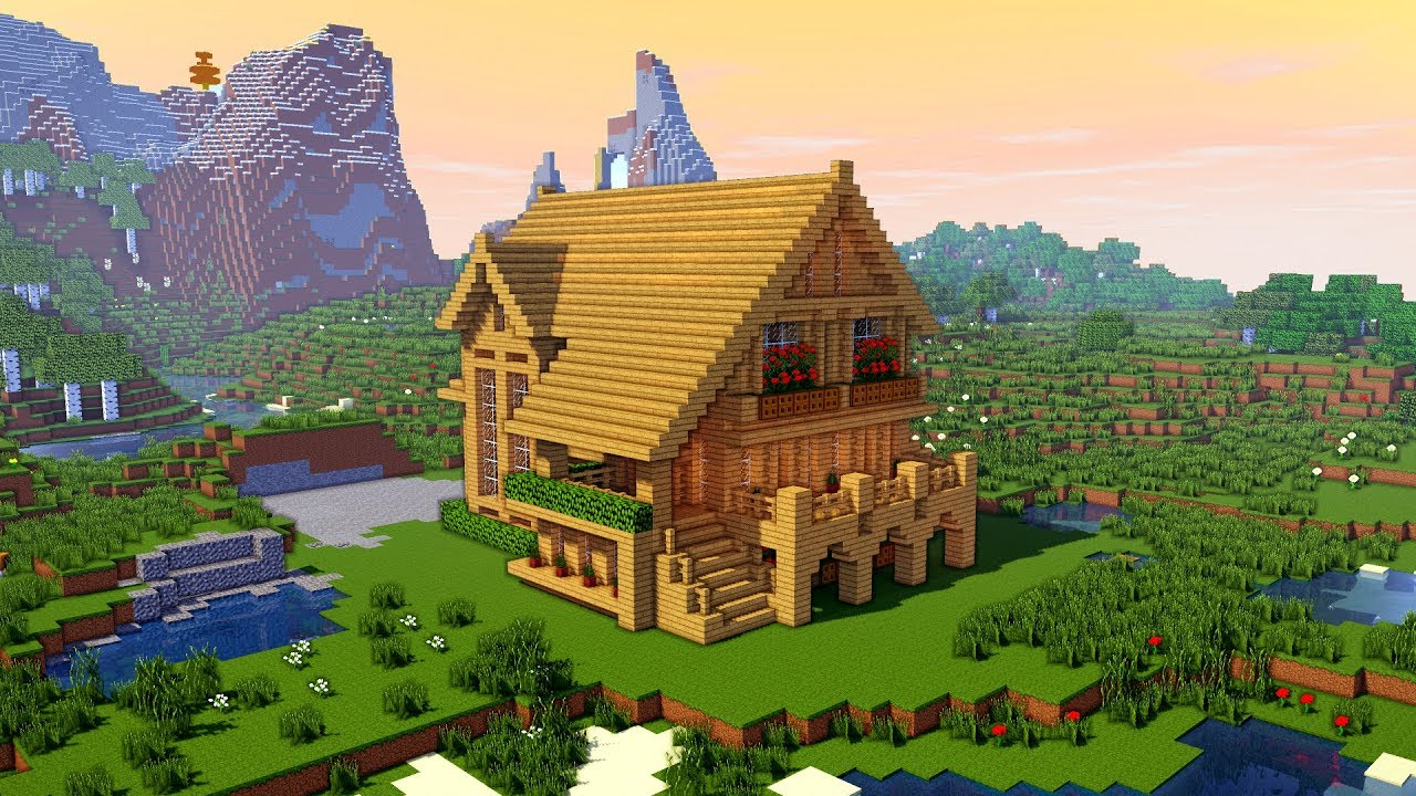 Minecraft How To Build A Large Wooden Mansion Tutorial Youtube