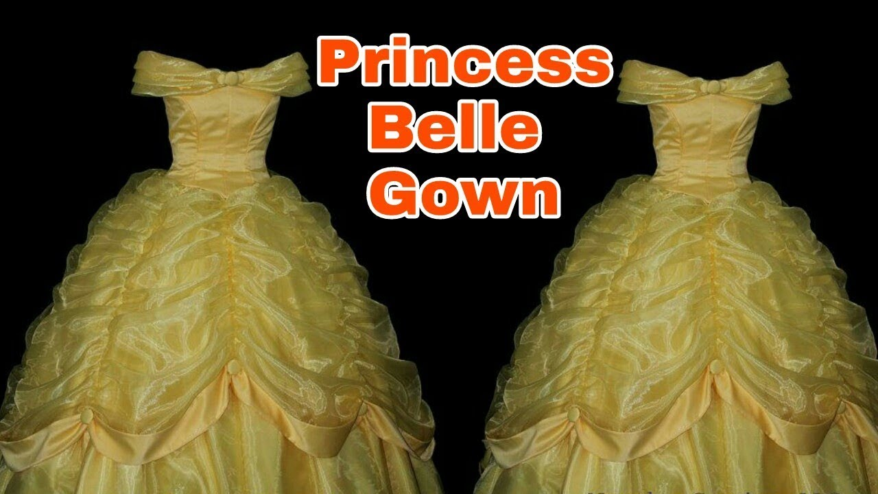 How to stitch PRINCESS BELLE GOWN (Full Tutorial DIY) English ...