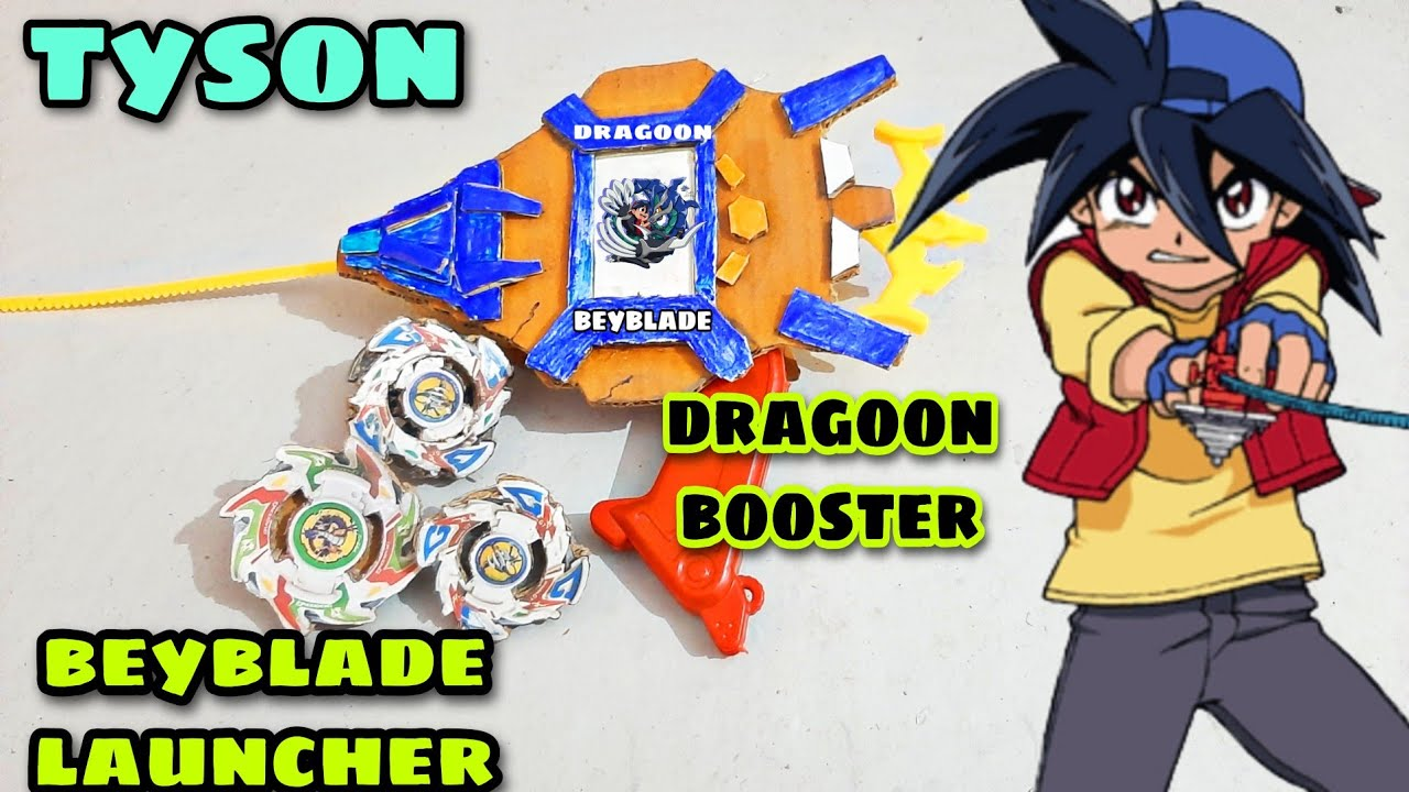 Tyson Beyblade Launcher Making With Cardboard Dragoon Booster Youtube
