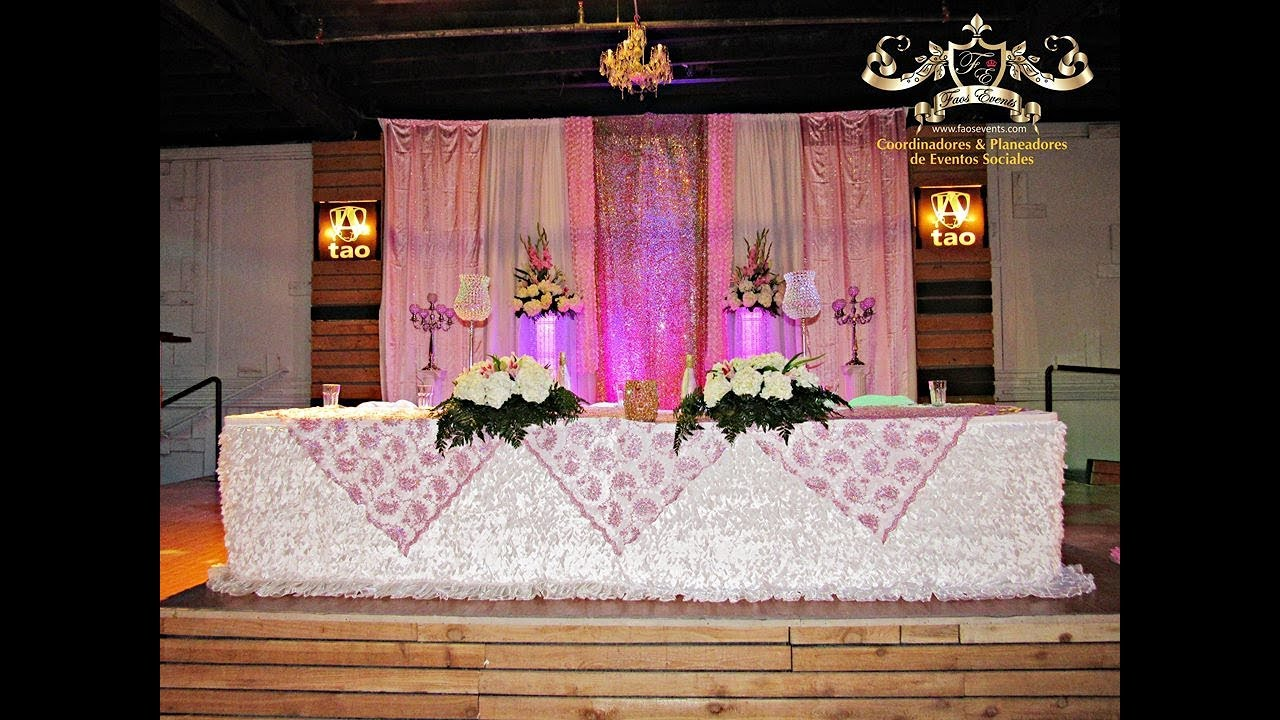 Faos events decoracion color rosa y dorado youtube for Decoracion con plantas para fiestas