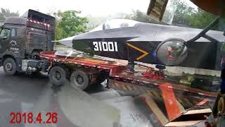 meeting jet fighter J31 on road