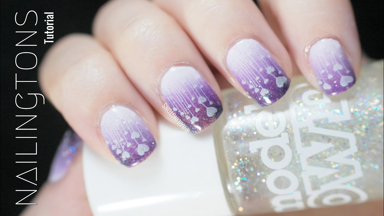 Easy Nail Art: Purple Heart Gradient Nails & Stamping How-To Nail ...