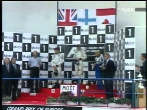 Jerez 1997 Podium - Häkkinen, Coulthard, Villeneuve