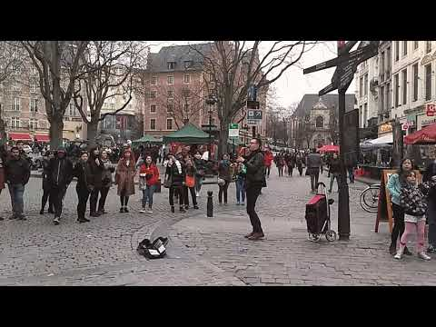 Great Street Musician In Brussel - Rockabye saxophone version..
