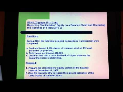 CALMAT BUS 552-Final Project: Reporting Stockholders' Equity on a Balance Sheet
