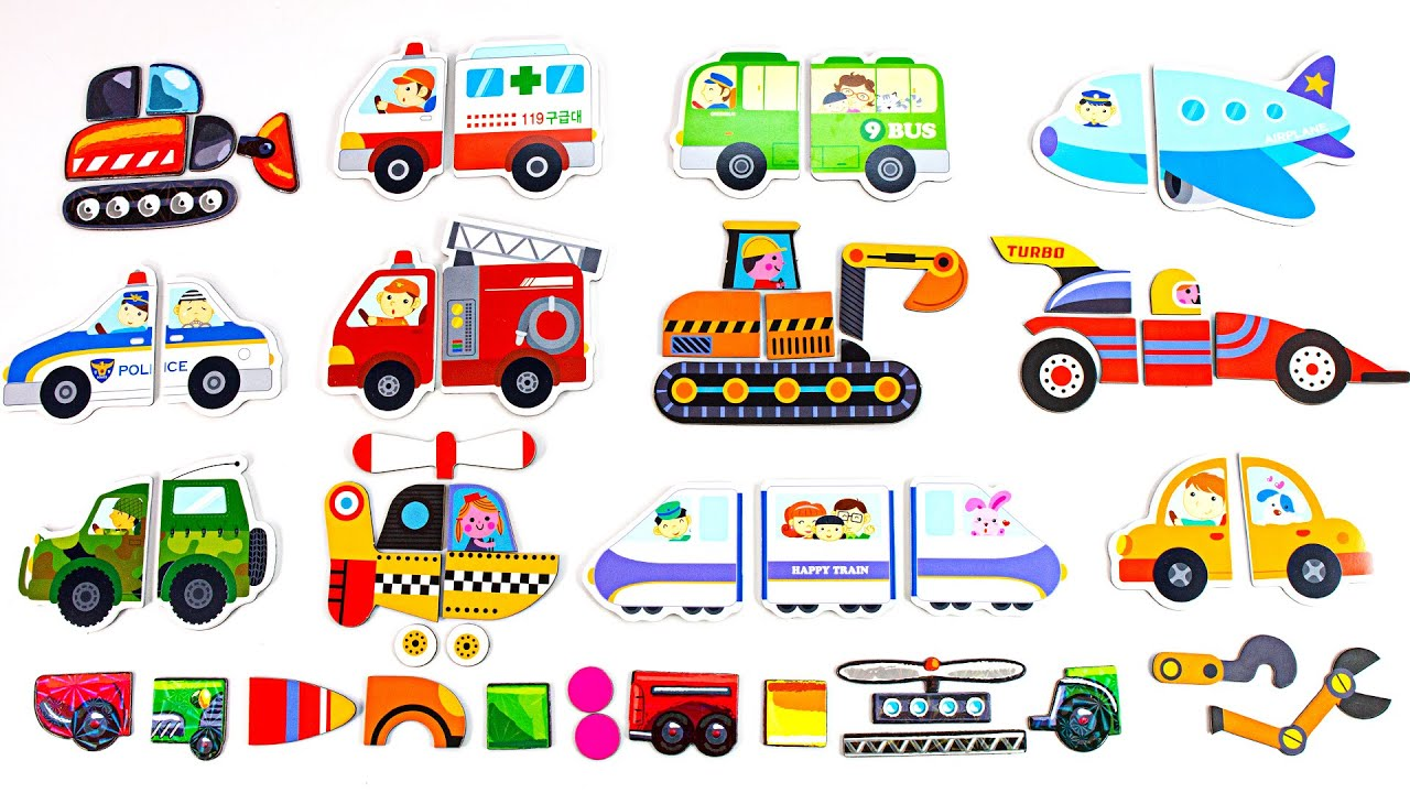 조각들이 모여 어떤차들을 만들까요 여러종류의 차들을 알아보아요
