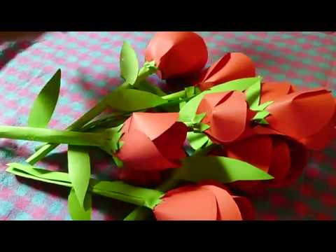 How To Make Red Rose Flower Bouquet - DIY - Paper Craft