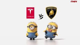 tesla vs Lamborghini Minions Style ( Funny )