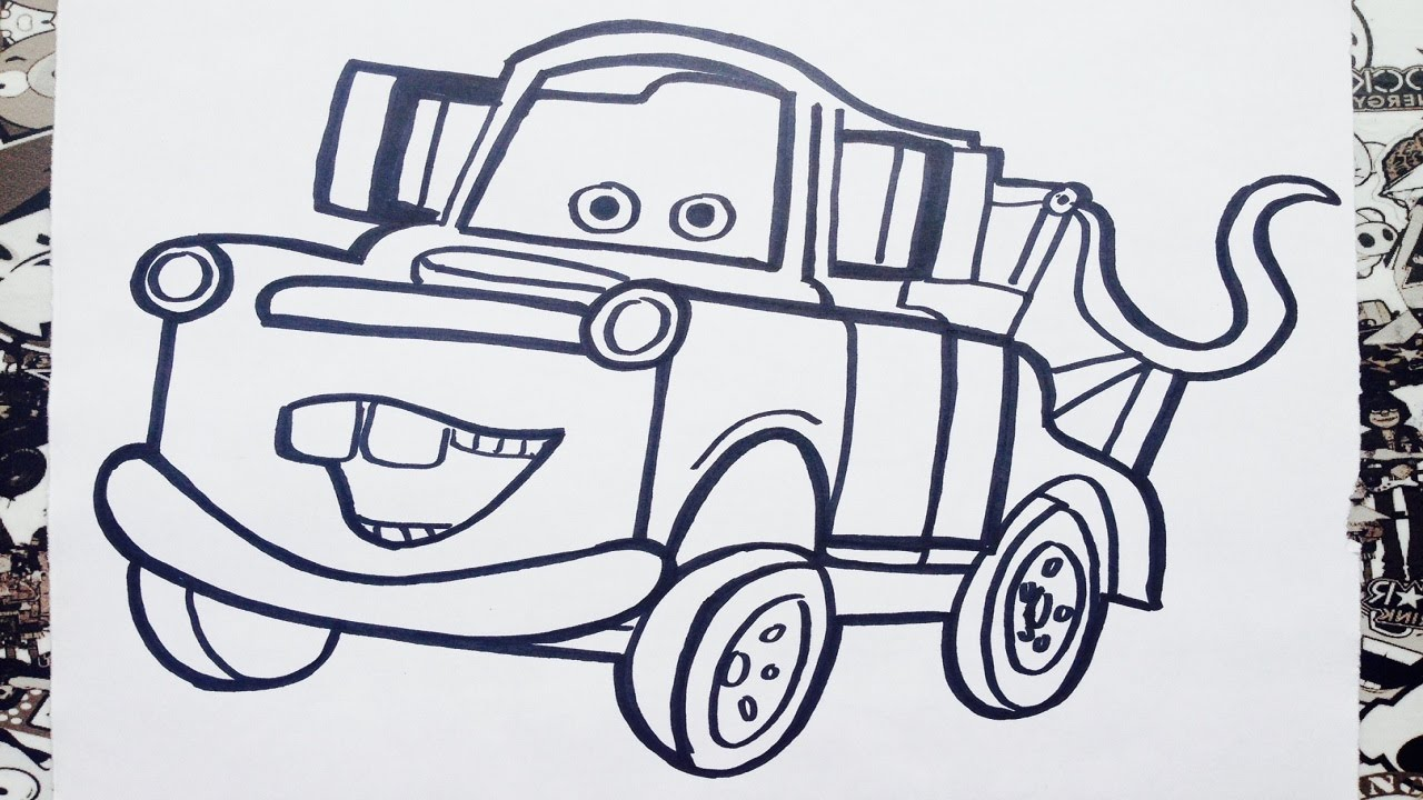 Como dibujar a mate de cars  how to draw mater  YouTube
