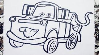 Como dibujar a mate de cars | how to draw mater