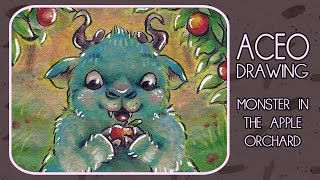 ACEO - Monster in the apple orchard