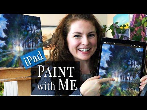 Paint with Me using iPad Procreate | Rainbow Forest Digital Art Landscape Painting | Nikki Merrifox