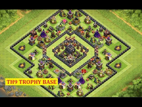 Clash of Clans - TH9 Trophy Pushing Base! (2016) | Base Build + Defense Replays