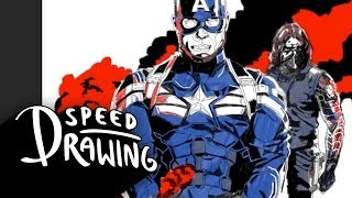 Speed Drawing: Captain America Poster PART 1