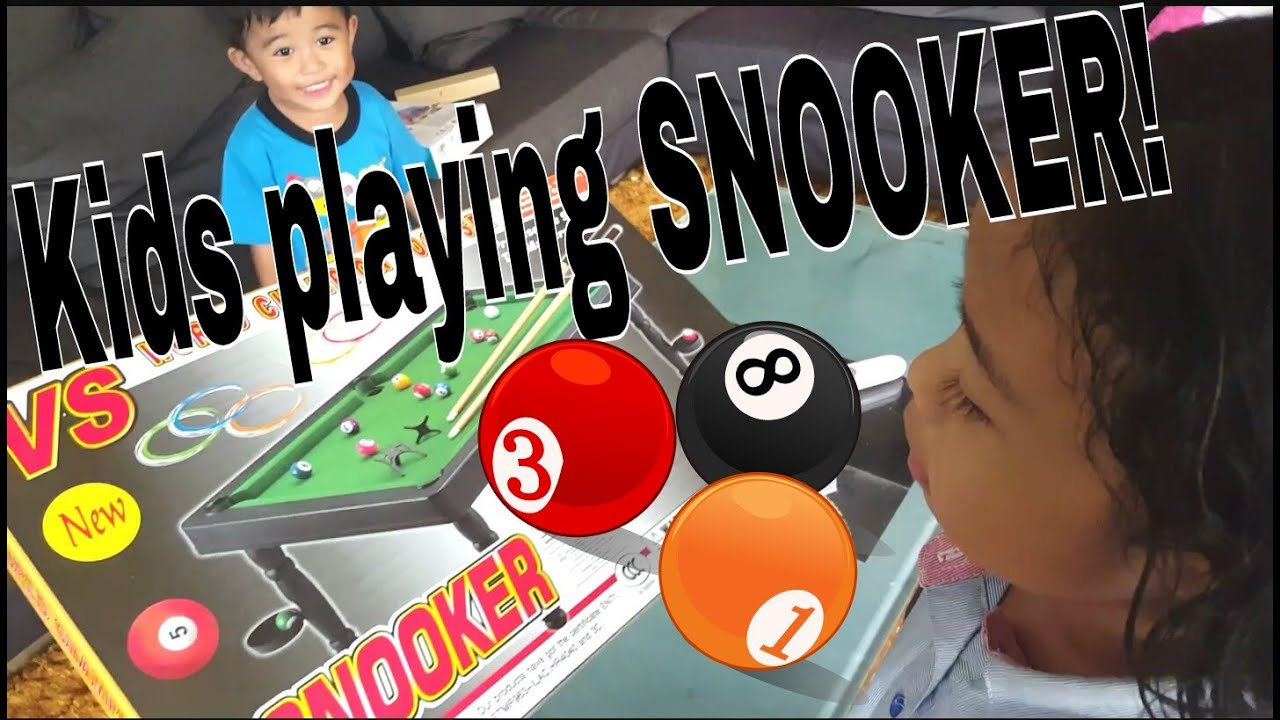 Kids playing SNOOKER Mini pool table toy 30april2016