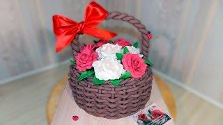 3д Торт КОРЗИНА С РОЗАМИ из мастики своими руками/3d Cake BASKET WITH ROSES - Я - ТОРТодел!