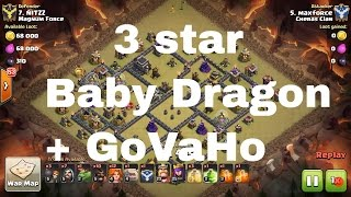 [Clash of Clans]Baby Dragon Funnel GoVaho 3 star Attack on Tough th9 base